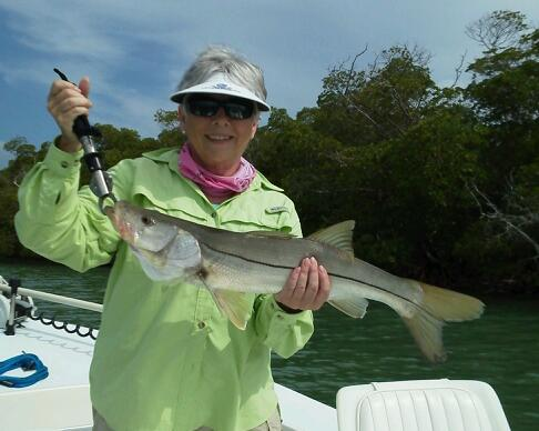 Sandi Garner with one of her many snook released last week.