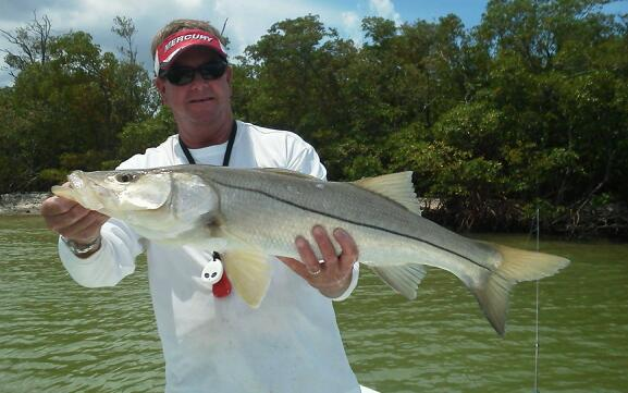 Capt. Todd Geroy enjoyed a hard battle with this bruiser snook
