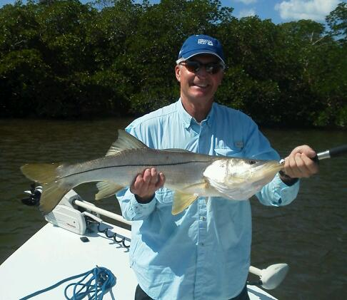 Tom Iversen with a 35 inch snook released with Capt. Todd last week.