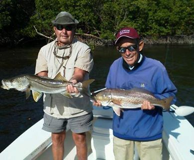 Brothers Bill and Jack Forte' doubled up on 30 inch snook and 30 inch redfish in one backcountry hole!  Released 11/14/13