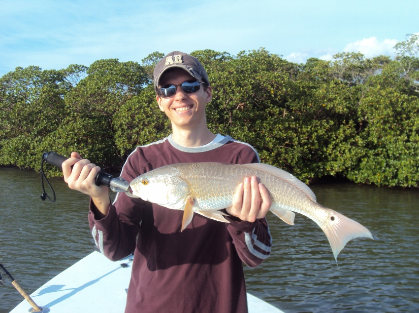 Jarad Dugan with a typical December redfish caught last week