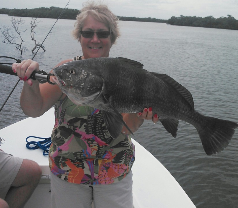 Black drum are a typical target during the cooler months. Jackie Strand caught this 12 lber. on a recent trip.