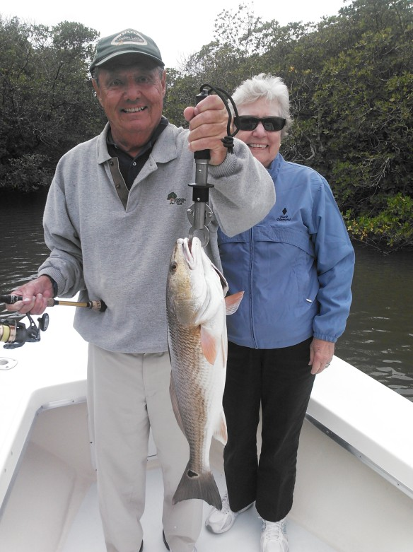 George and Ilsa Gibson with a beautiful back country redfish last week.