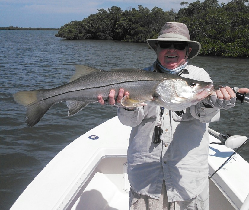 Jay Bishop with his 34 inch snook before release with Capt. Todd Geroy 4/28/2014