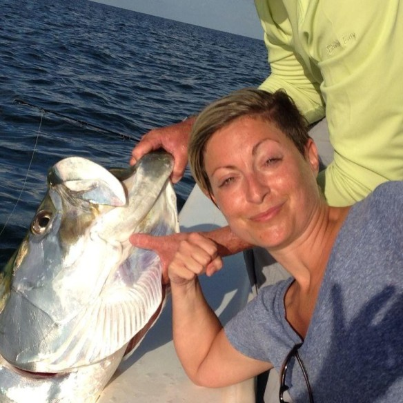 Kristy Pennino conquered this massive tarpon after a 1:45 battle on 8/12/14