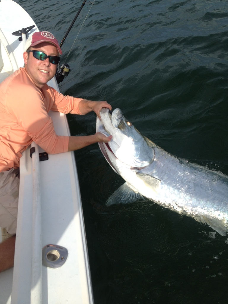 Releasing this 130 lb. tarpon was the first leg of Justin Harper's grand slam catch last week!