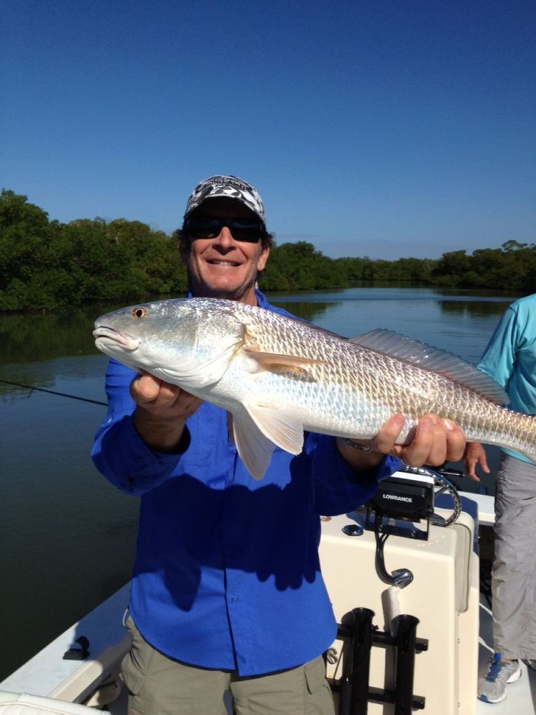 This recent over slot redfish caught on a chilly morning didn't fit into the frame.