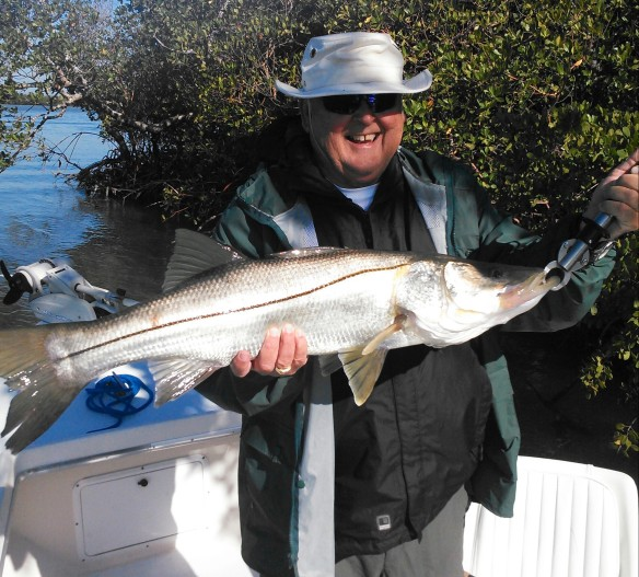 Larry Benner with a big, healthy April snook released last week.